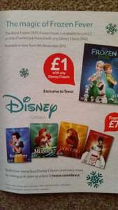 Disney Frozen Fever DVD Tesco  just £2, or only £1 when purchased with any Disney Classic DVD