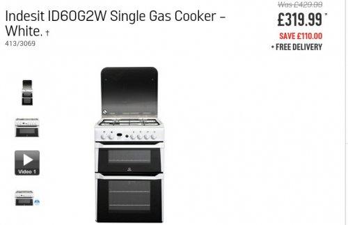 Indesit Gas Cooker ID60G2W -White £319.99 @ Argos