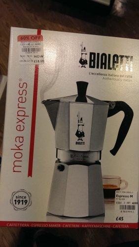 Bialetti - Italian Coffee Maker (Stove Top) - Moka Express 9 cup. Was £45 now £18 @ Debenhams