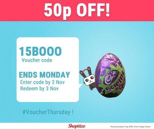 Enter 15BOOO for 50p off Cadbury Screme Egg - 60p @ Tesco & Waitrose = 9p via Shopitize, COS/CS Apps...