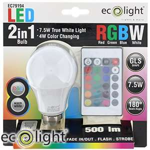 Ecolight Remote Control Colour Change LED Bulb B22/E27 £7.99 @ Home bargains