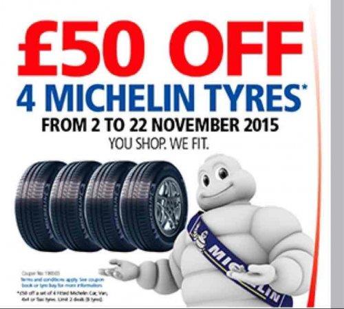 Costco £50 off 4 Michelin tyres
