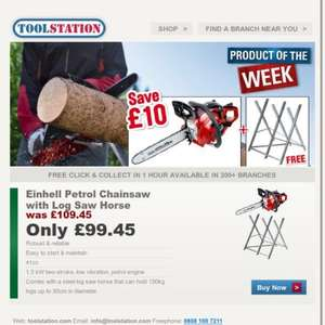 Einhell Petrol Chainsaw 41cc with Log Saw Horse only £99.45 delivered or to collect @ toolstation [halloween jason prop]