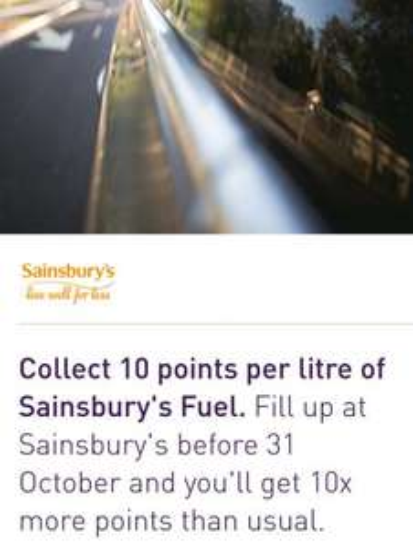 10x nectar points on Sainsburys fuel