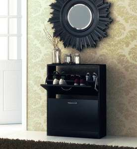 Shoe Cupboard Black 2 Door Pull Down Cabinet £26.99 @ brownsource