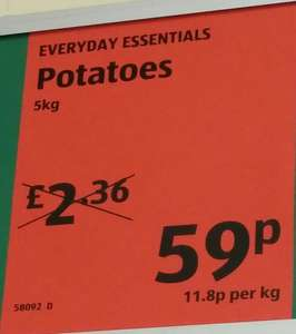 Everyday essential Potatoes 5kg at aldi 59p