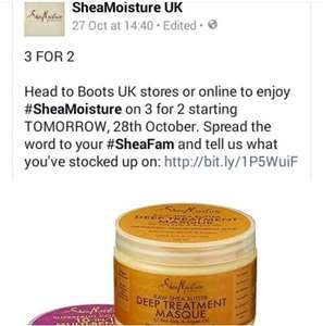 Shea moisture hair  products buy 3 for price of 2 @ Boots