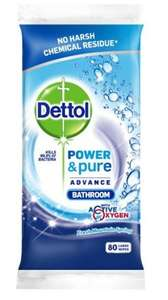 Dettol Power and Pure Bathroom 80 Wipes (Pack of 4) £3.68 - Add on Item @ Amazon