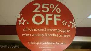 25% off all wine and champagne at waitrose