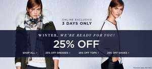 25% Off 'New In' items, Winter Dresses, Tops and Shoes + extra 10% Off with code at Dorothy Perkins