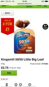 ASDA Kingsmill 50/50 Little Big Loaf 470g 2 for £1 @ Asda