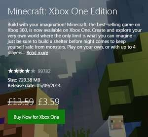 Minecraft Xbox One Digital Download - £3.59 (Gold Members)