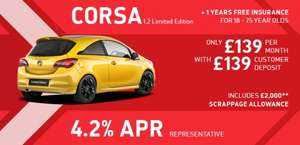 Vauxhall Corsa 1.2 Limited Edition From Only £139 Per Month With £1,190 Finance Deposit Allowance & 1 Years Free Insurance Finance £14128.15  @ caffyns