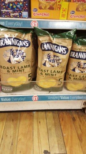 Brannigans ROAST LAMB & MINT flavour crisps NOW AVALIABLE £1 at Poundland!