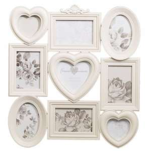 Heart Trio Aperture Photo Frame 9pc NOW £1.00 Was £6.99 @ B&M