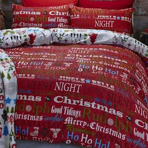 Catherine Lansfield Christmas Slogans Cotton Duvet Set £7.99 + £4.99 delivery @ wayfair