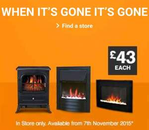 Electric Fires (3 types) - £43 - B&Q (Instore)