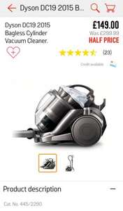 Dyson DC19 2015 Bagless Cylinder Vacuum Cleaner Half Price £149 on the Argos APP
