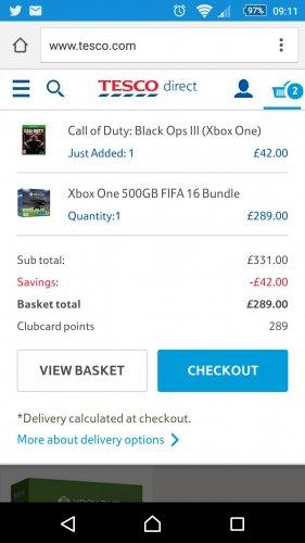 XBOX ONE 500GB FIFA 16 BUNDLE with COD Black Ops 3 £289.99 @ Tesco