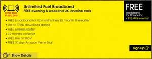 Unlimited Fuel Broadband, FREE evening & weekend calls + Possibility of £50 amazon voucher @ 16.40 per month