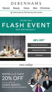 Pre-Black Friday Debenhams Flash Sale - till midnight tonight. Discounts up to 40% - read blurb for details (cheapest food prep item £3.20)