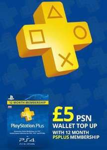 12 Month Playstation Plus & £5 PSN Top Up £35.99 @ Shopto