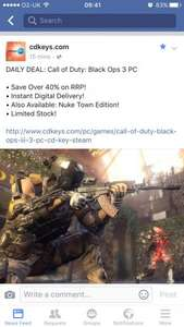 Call of Duty Black ops 3 PC £21.84 with code @ cdkeys