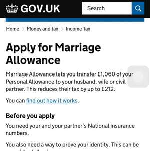 Get an extra £212 by using Govt's Marriage Allowance Scheme