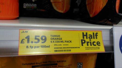 Tango Orange 6 x 330ml cans for £1.59 @ Tesco instore