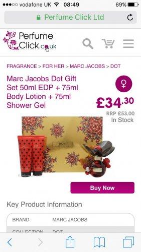Perfume click website - Marc Jacobs dot 50ml gift set £36.25 delivered