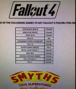 Fallout 4 only £9.99 with trade-in on selected games @ Smyths Toys