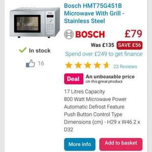 Bosch stainless steel microwave with grill. (stainless steel inside too) £79 at appliances online