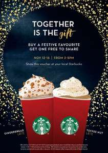 Heads up - Starbucks 2 for 1 Christmas Drinks Starts Thursday - Gingerbread Latte - Eggnog  Latte - Toffee Nut Latte - Honey and Almond Hot Chocolate