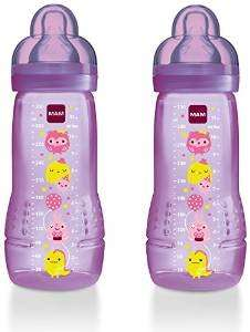 MAM 330ml Baby Bottle With Spill Free Lid - Fast Flow Teat (Purple, Pack of 2) - £5 ADD ON ITEM @ Amazon