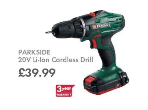 Parkside 20V Li-Ion cordless drill £39.99 + 3 year warranty @ Lidl 12th Nov