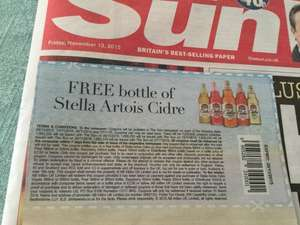 FREE bottle Stella Artois Cidre with Sun 40p