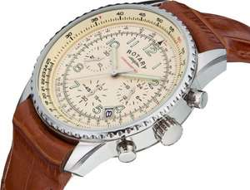 Rotary Men's Brown Strap Chronograph Watch - Argos - £49.99