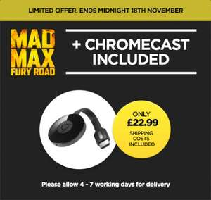 Another Chromecast deal from Wuaki with Mad Max Fury Road for £22.99!