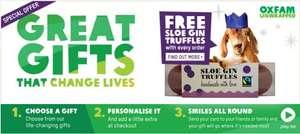 Free Sloe Gin truffles with any Oxfam unwrapped charity gift from £5