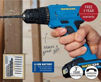 16V Li-Ion Cordless Drill with 3 year warranty @ Aldi for £29.99
