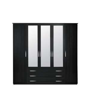 Oslo Five Door Wardrobe With Three Draws And Mirrors  @ BARGAIN CRAZY £161.99 WITH FREE DELIVERY