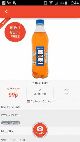 irn bru 500ml bogof 99p regular & sugar free from Mccolls thanks to COS