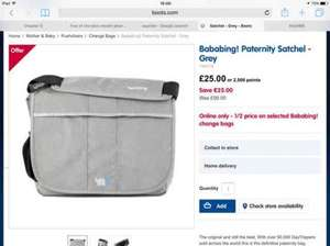 Bababing! paternity satchel £50 everywhere - £25 at boots!