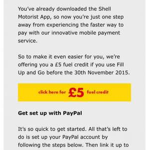 free £5 fuel for selected shell customers