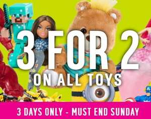 3 for 2 on all Toys at Argos  Friday to Sunday