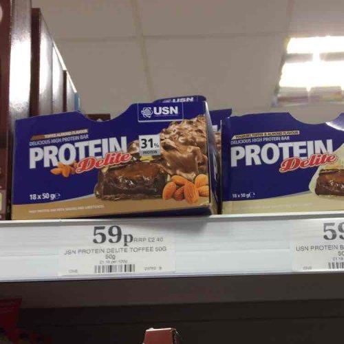 USN protein bar 59p homebargains