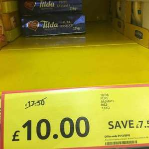 Tilda Pure Basmati Rice 7.5KG in £10 reduced from£17.50 @ Tesco