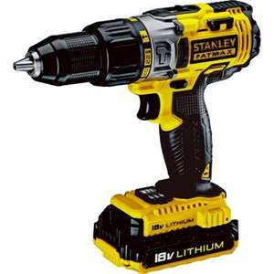 Stanley Fatmax Cordless Li-ion Hammer Drill - 18V with 2 Batteries Carry Case & 3 year manufacturer's guarantee £69.99 @ Homebase (Free instore collection)