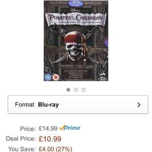 Pirates of the Caribbean 1-4 Blu Ray £10.99 (Prime)  £12.98 (Non Prime) @ Amazon Lightning Deal