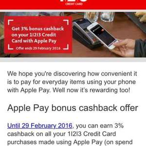 3% cash back on Apple Pay purchases @ Santander